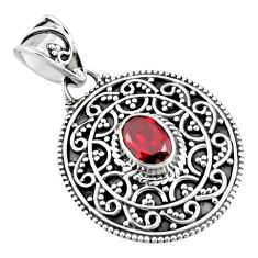 925 sterling silver 1.41cts natural red garnet oval pendant jewelry p90230