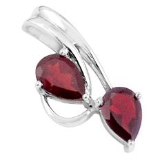 925 sterling silver 4.67cts natural red garnet pear pendant jewelry p36471