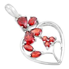925 sterling silver 6.53cts natural red garnet pendant jewelry d31831