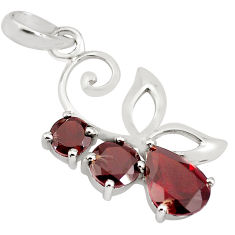 925 sterling silver 3.94cts natural red garnet pendant jewelry p82013