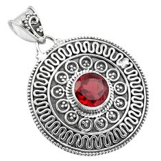 925 sterling silver 3.35cts natural red garnet round pendant jewelry p86275