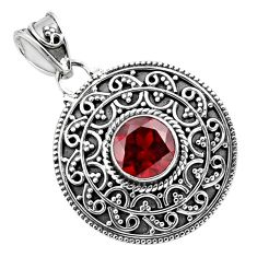 925 sterling silver 3.01cts natural red garnet round pendant jewelry p86336