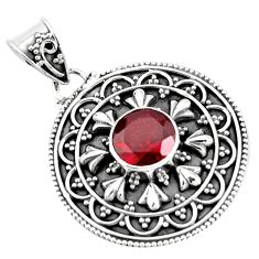 925 sterling silver 3.01cts natural red garnet round pendant jewelry p90232