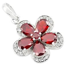 925 sterling silver 8.05cts natural red garnet white topaz pendant p73814