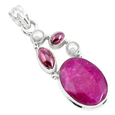 925 sterling silver 16.17cts natural red ruby garnet pearl pendant p49386