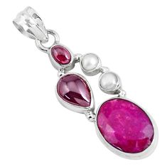 925 sterling silver 12.36cts natural red ruby garnet pendant jewelry p49397