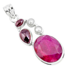 925 sterling silver 18.22cts natural red ruby garnet pendant jewelry p49406