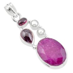 925 sterling silver 15.47cts natural red ruby garnet pendant jewelry p59154