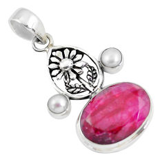 925 sterling silver 15.24cts natural red ruby oval pearl flower pendant p56814