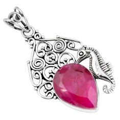 925 sterling silver 14.21cts natural red ruby seahorse pendant jewelry p59793