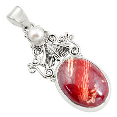 925 sterling silver 21.48cts natural red snakeskin jasper pearl pendant d31724