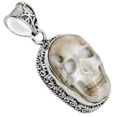 925 sterling silver 17.44cts natural white howlite buddha charm pendant p90428