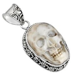 925 sterling silver 17.44cts natural white howlite buddha charm pendant p90439
