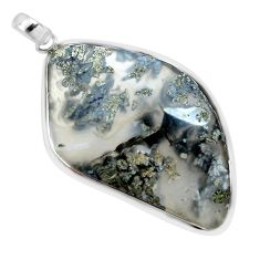 925 sterling silver 34.42cts natural white marcasite in quartz pendant p44044