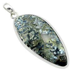 925 sterling silver 27.49cts natural white marcasite in quartz pendant p53864