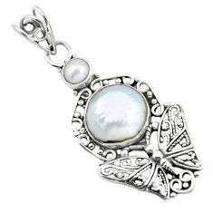925 sterling silver 6.36cts natural white pearl butterfly pendant jewelry d31835