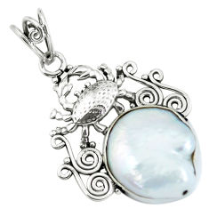 925 sterling silver 12.36cts natural white pearl crab pendant jewelry p59775