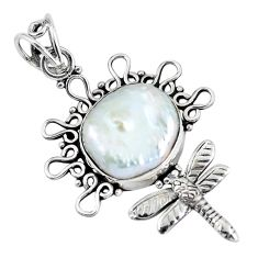 925 sterling silver 11.66cts natural white pearl fancy dragonfly pendant p59715