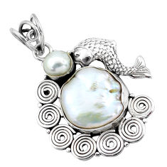 925 sterling silver 15.33cts natural white pearl fish pendant jewelry p58770