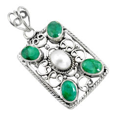 925 sterling silver 7.22cts natural white pearl green emerald pendant d31947