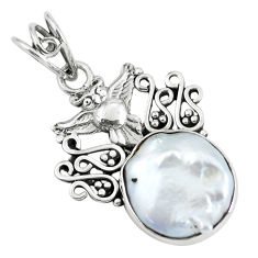 925 sterling silver 11.23cts natural white pearl owl pendant jewelry p59757