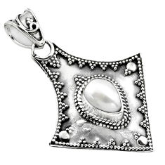 925 sterling silver 2.33cts natural white pearl pear pendant jewelry p86360