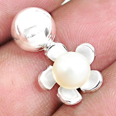 925 sterling silver 2.16cts natural white pearl round pendant jewelry c1619