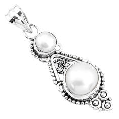 925 sterling silver 6.57cts natural white pearl round pendant jewelry p39347