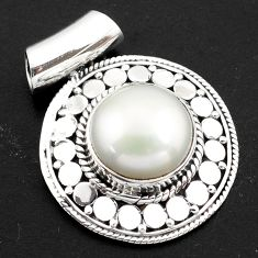 925 sterling silver 9.44cts natural white pearl round pendant jewelry p86487