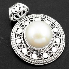 925 sterling silver 8.70cts natural white pearl round pendant jewelry p86491