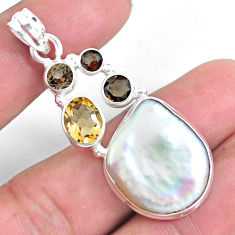 925 sterling silver 22.59cts natural white pearl smoky topaz pendant p59252