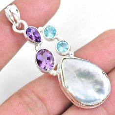 925 sterling silver 23.48cts natural white pearl topaz amethyst pendant p59244