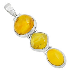 925 sterling silver 14.72cts natural yellow amber bone fancy pendant p67376