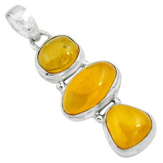 925 sterling silver 11.04cts natural yellow amber bone pendant jewelry p67372