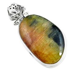 925 sterling silver 19.23cts natural yellow bio tourmaline fancy pendant d31817