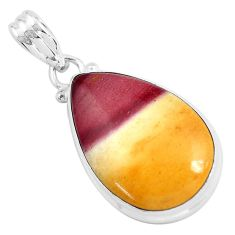 925 sterling silver 15.90cts natural yellow mookaite pendant jewelry p46294