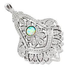 925 sterling silver 2.50cts pink australian opal (lab) topaz pendant c2516