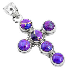 925 sterling silver 7.40cts purple copper turquoise holy cross pendant p35964