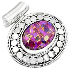 925 sterling silver 10.41cts purple copper turquoise oval pendant jewelry p86564