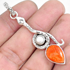 925 sterling silver 6.54cts red copper turquoise pearl snake pendant p49231