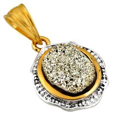 925 sterling silver 3.31cts silver druzy 14k gold pendant jewelry c5497