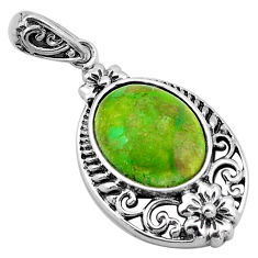 925 sterling silver 5.54cts southwestern green copper turquoise pendant c4850