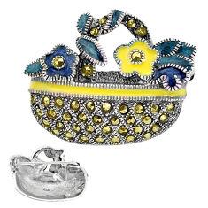 925 sterling silver 7.67gms swiss marcasite enamel brooch pendant jewelry c3009