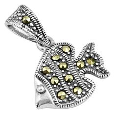 925 sterling silver 2.45gms swiss marcasite fish pendant jewelry c4498