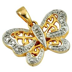 0.15cts natural white diamond 925 silver 14k gold butterfly pendant a26627