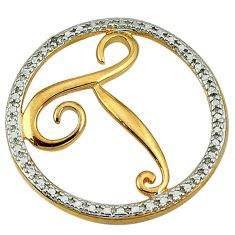 Letter t natural white diamond 925 sterling silver 14k gold pendant a26638