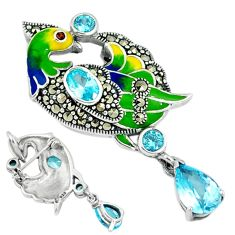 925 silver natural blue topaz marcasite enamel peacock pendant jewelry a29136