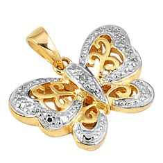 Natural white diamond 925 sterling silver 14k gold butterfly pendant a30071