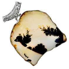 Collector's scenic russian dendritic agate 925 silver pendant jewelry a30742