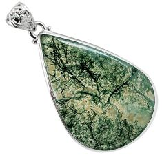 Natural green moss agate pear 925 sterling silver pendant jewelry a30745
